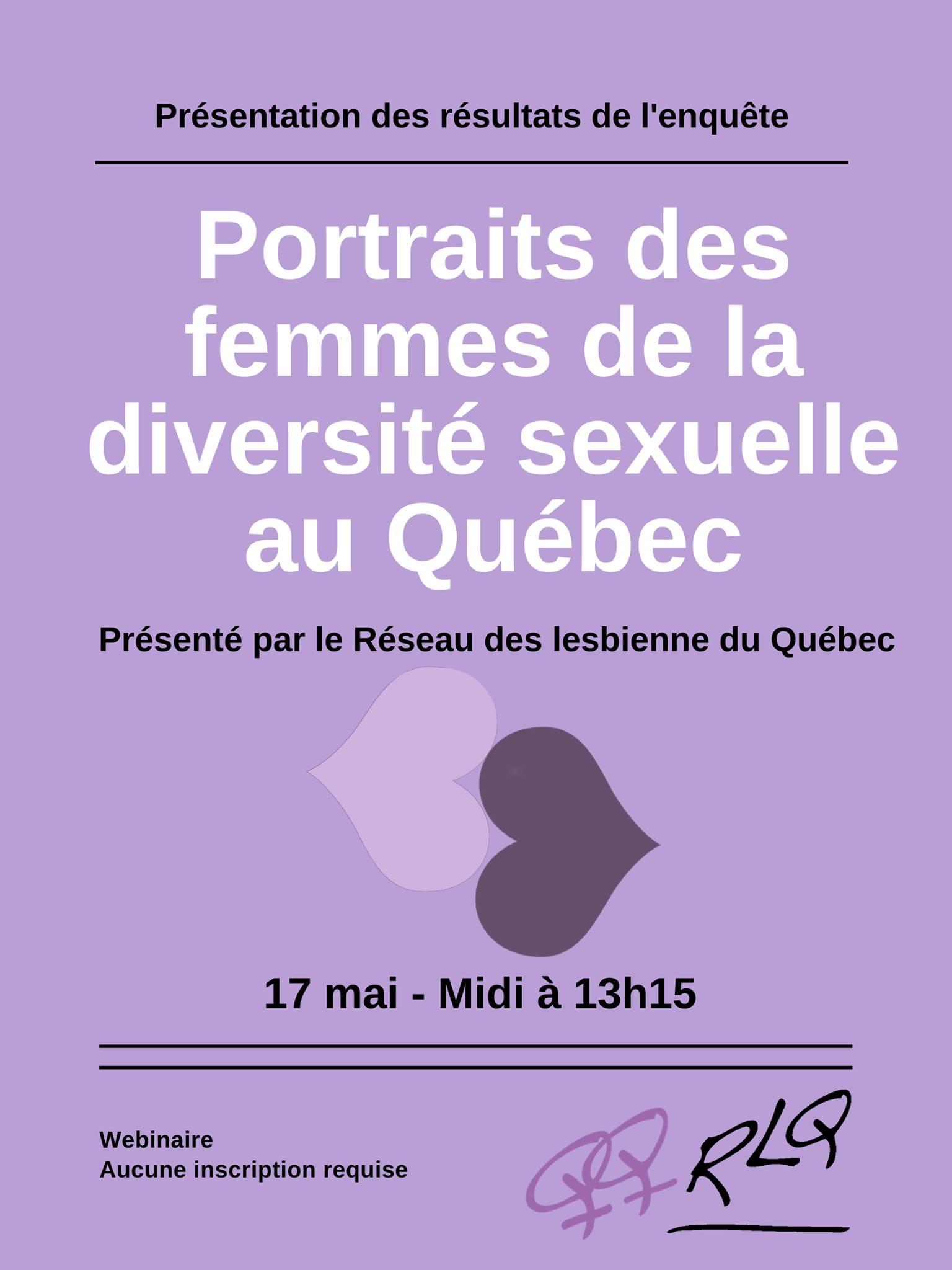 Lancement de l'enquête «Portraits des femmes de la diversité sexuelle» du RLQ