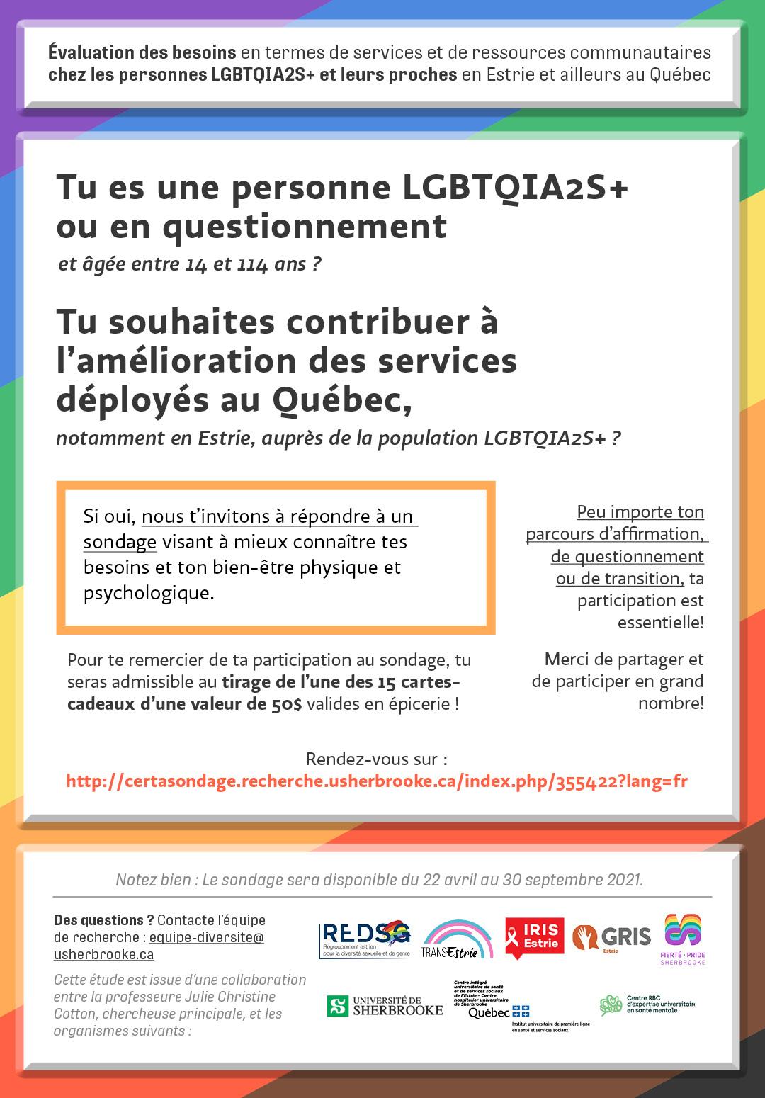 APPEL À PARTICIPATION : Personnes LGBTQIA2S+ ou en questionnement recherchées!