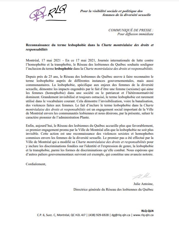 COMMUNIQUÉ – Reconnaissance du terme lesbophobie dans la Charte montréalaise des droits et responsabilités